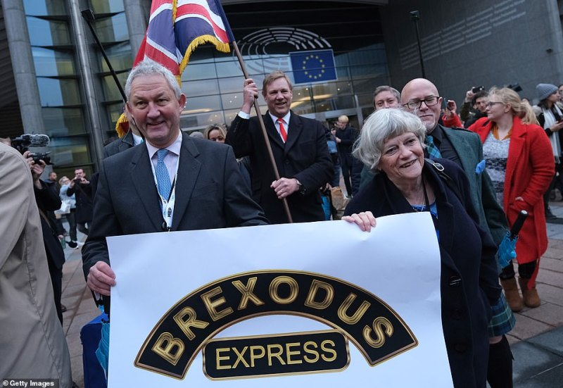 Britain's MEPs left the European Parliament for the final time today. Brexit Party MEPs took part in a march out of the building this morning carrying a banner reading 'Brexodus Express'