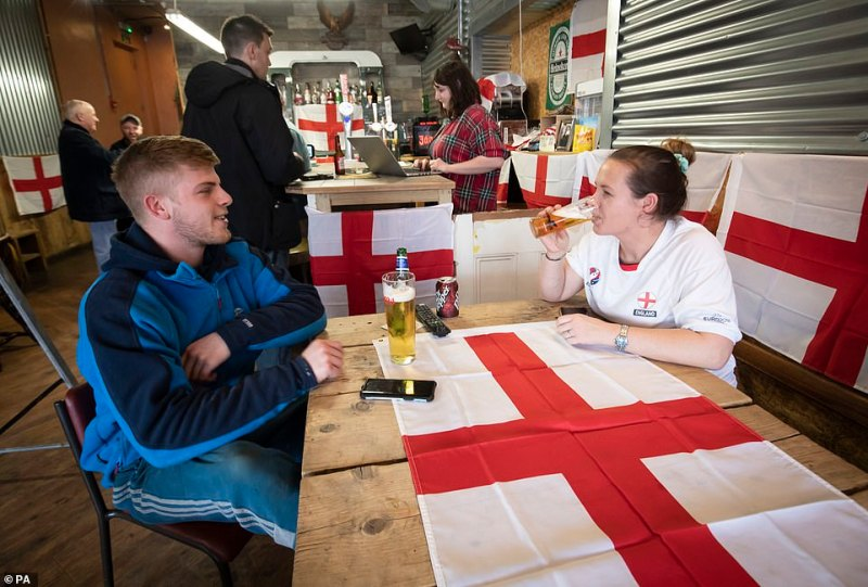 Customers at the Sawmill Bar in South Elmsall, Yorkshire, where a Brexit party is being held throughout the day ahead of the UK leaving the European Union at 11pm this evening