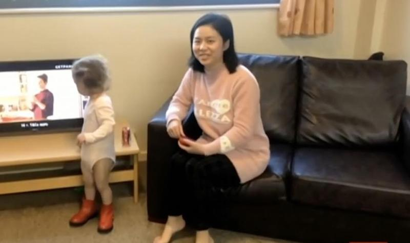 A woman and her daughter are also staying alongside Mr Raw in the hospital accommodation block. The woman asked to say hello to her husband live on the show