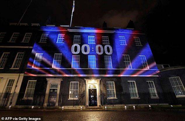 A countdown was projected on to the famous No10 black door from 10pm, as the party continued inside