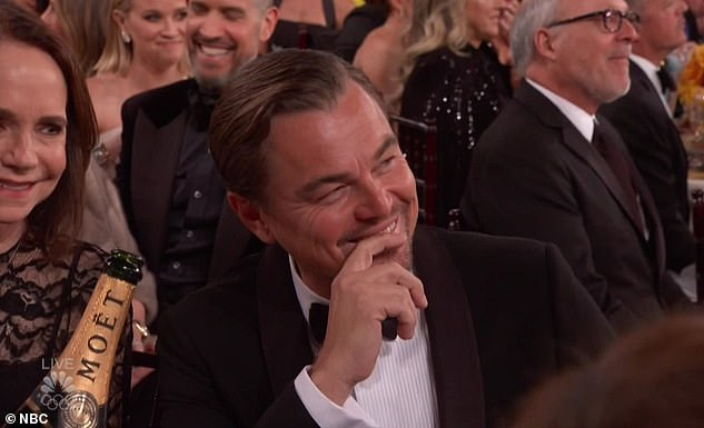 Laughing at himself: DiCaprio saw the funny side and could be seen laughing in the audience