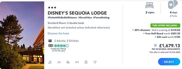 The UK version of the Disneyland Paris website showing the price for a family of four at the Sequoia Lodge from August 3 to August 6. This price includes half board and a gift card