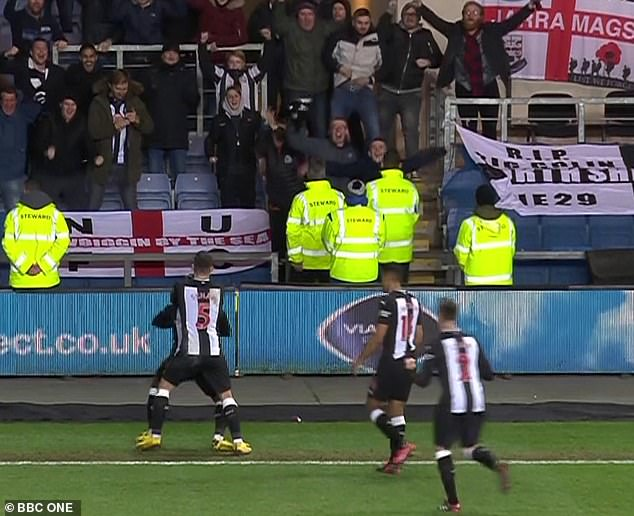 The supporter appeared to expose himself after Allan Saint-Maximin's late winner