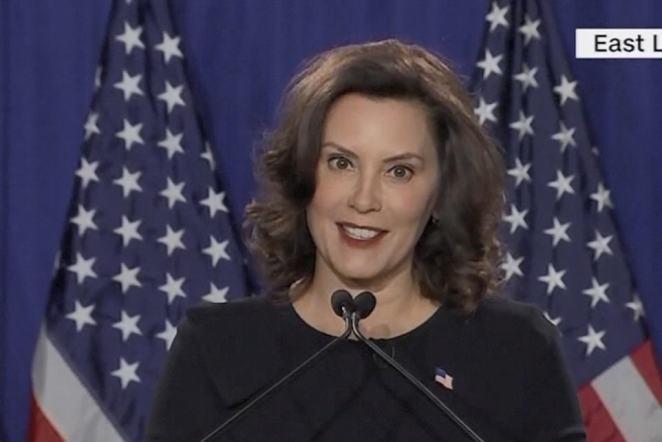 Michigan Governor Gretchen Whitmer delivered the Democratic response in a black dress