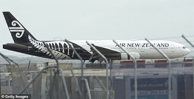 Eight Britons evacuated from coronavirus-hit Wuhan hitched a lift on an Air New Zealand flight (shown) with 190 other passengers and crew last night. It landed at 5am this morning (UK time)