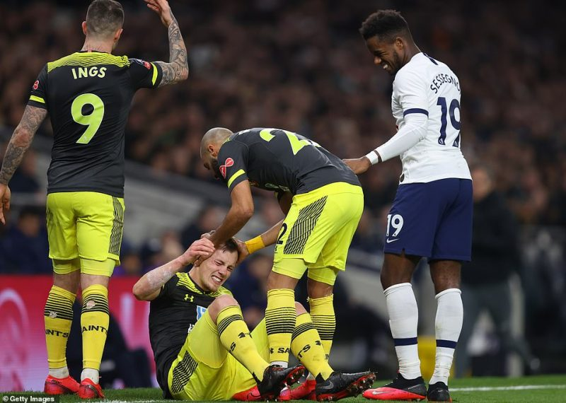 James Ward-Prowse came off in the first half after a collision with Ryan Sessegnon left him unable to continue