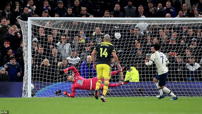 Son stepped up for the penalty and fired a powerful and precise effort into the bottom corner which Gunn failed to save