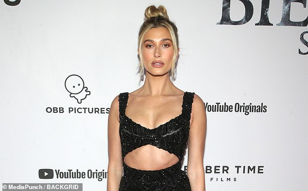 Hailey Bieber (pictured) was among the angry celebs who mourned the impeachment result