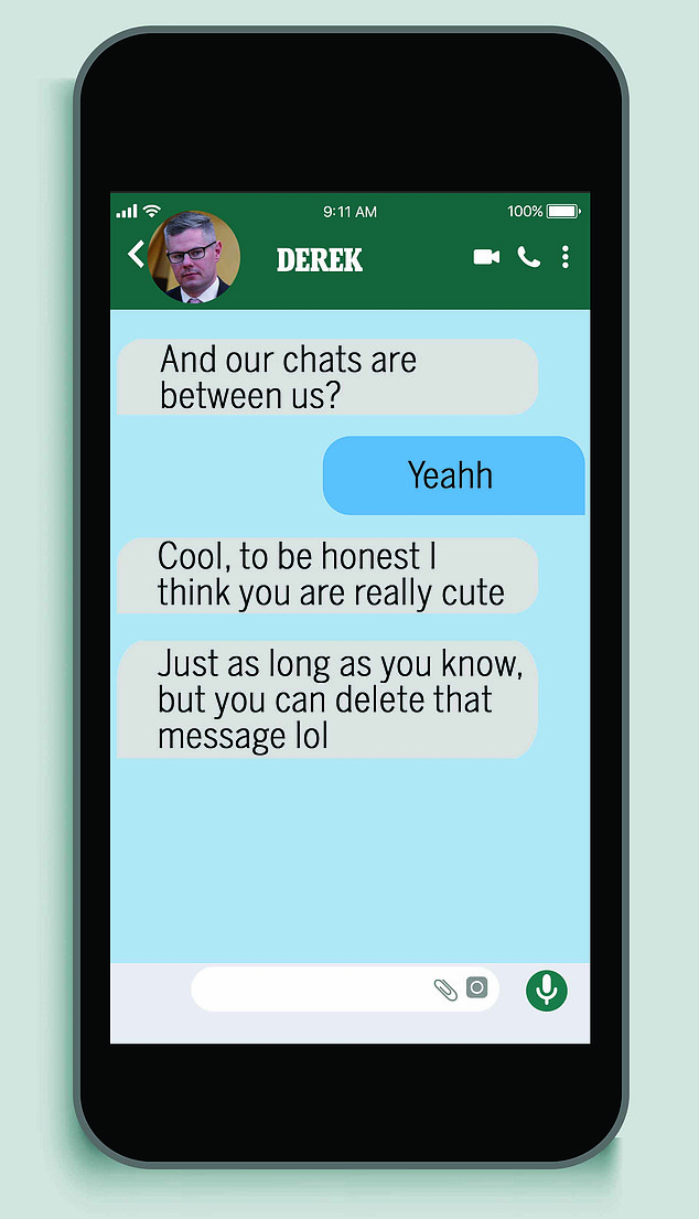 A mock up of text messages allegedly exchanged between Derek Mackay and a 16-year-old boy