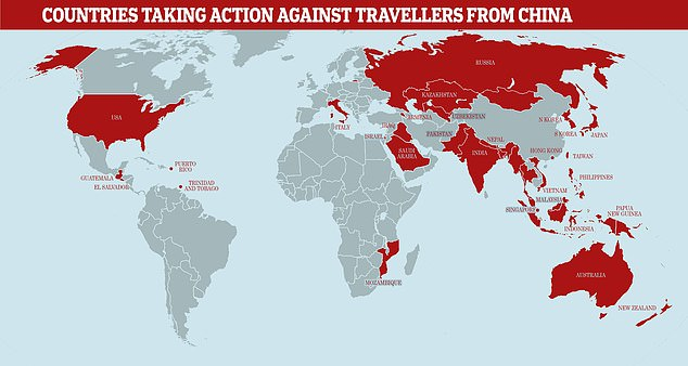 Saudi Arabia yesterday became the 16th nation to ban travellers from coronavirus-hit China from entering the country. A total of 31 countries have grounded planes to and from mainland China, to varying degrees