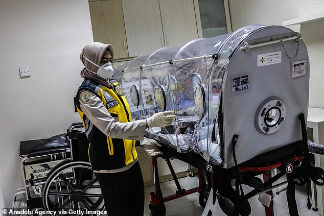 A medical worker in East Java, Indonesia, examines an isolation chamber which could be used to contain people with the contagious coronavirus