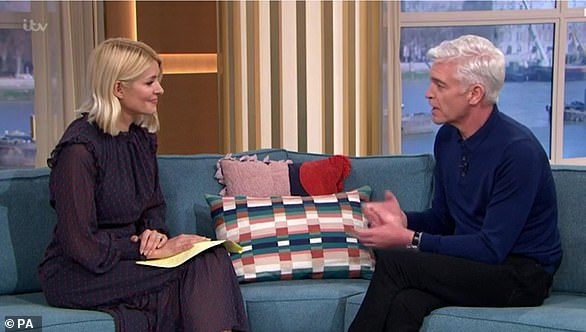 TV presenter Phillip Schofield on ITV's This Morning talking with Holly Willoughby today about his announcement that he is gay