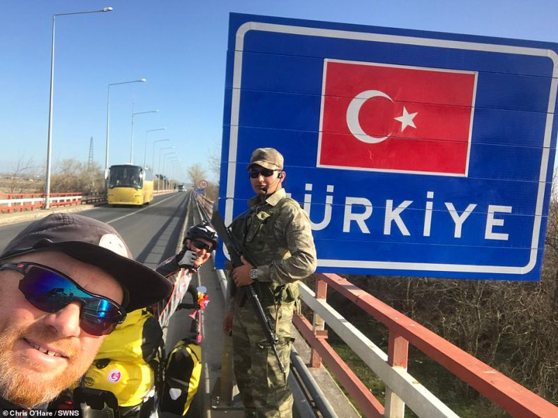 Chris and Gabriella pose for a selfie as they enter Turkey.The couple is raising money for the Prevent Breast Cancer charity