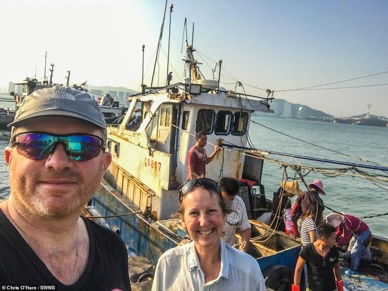 This shot shows Gabriella and Chris in China. Prior to arriving here, the couple had tackledAzerbaijan, Kazakhstan, Uzbekistan, Tajikistan and Kyrgyzstan