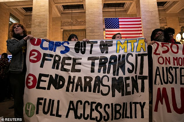 Anti-police sentiment has been building in the city as locals accused the NYPD of harassing subway riders who are unable to pay fares. Last week, hundreds of protesters shouted slogans denouncing the police in Grand Central Terminal.