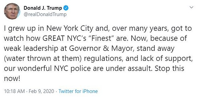 """'I grew up in New York City and, over many years, got to watch how GREAT NYC's """"Finest"""" are,' the president tweeted on Sunday"""