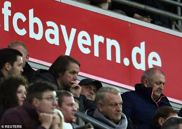 Jose Mourinho (wearing cap) was spotted at Bayern Munich against RB Leipzig on Sunday