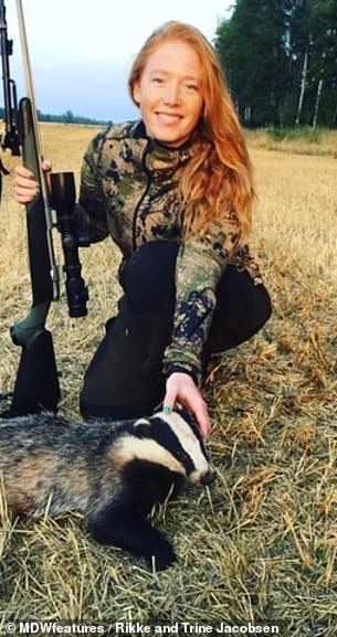 Rikke pictured with a Swedish badger she hunted down. She became interested in hunting from the age of ten