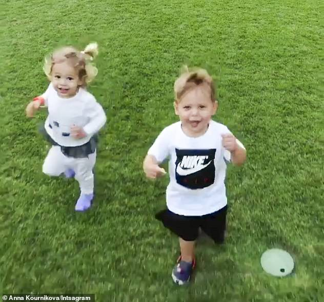 Cuties! Russian tennis star Anna, 38, gave birth to twins Lucy and Nicholas in December 2017