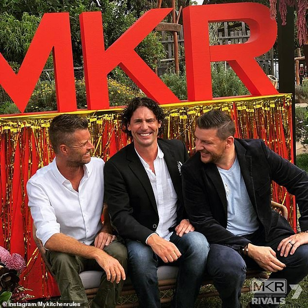 Nail in the coffin? My Kitchen Rules continues to struggle in the ratings, and Colin isn't shying away from the fact he could lose his job if things don't improve. Pictured with Pete Evans (left) and Manu Feildel (right)