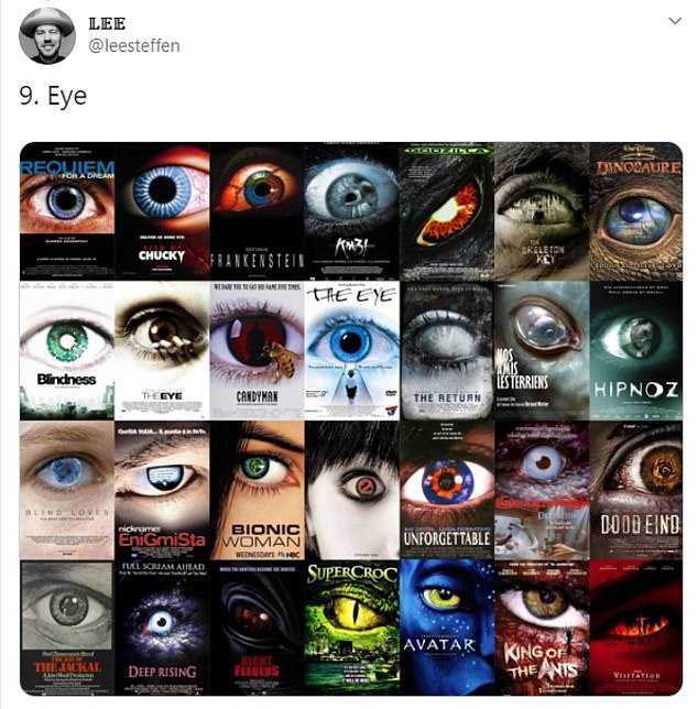 Lee also discovered that the human eye was featured in a number of movie posters from horror to action