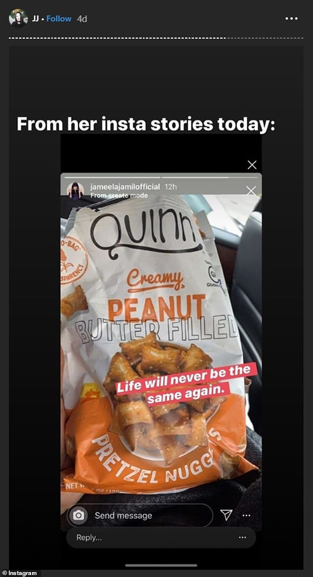 Jameela shared this post on Instagram raving about Quinn peanut butter filled pretzel nuggets. The post led followers to call her out because she claimed prior that she had a peanut allergy