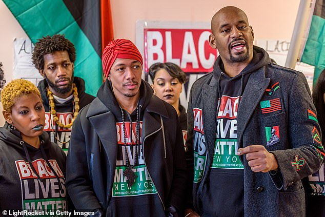 Actor Nick Cannon, center, with Hawk Newsome, right, of Black Lives Matter in Greater NY