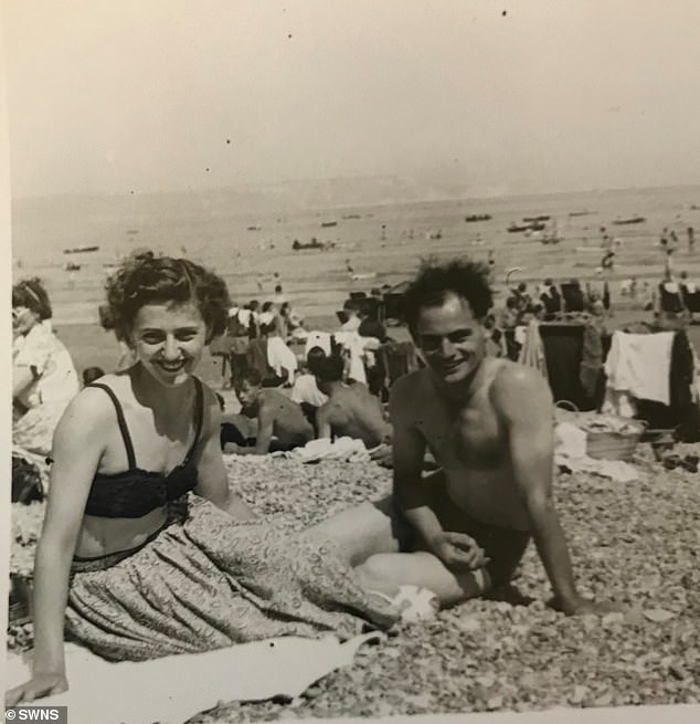 A day on the beach in Cornwall during their first year of marriage in 1948. The couple have stayed together through thick and thin