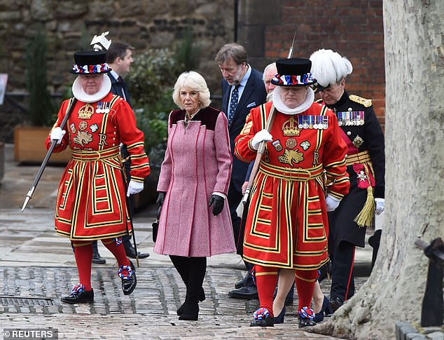 Charles and Camilla were then taken on a tour of the Royal Palace, which is nestled on the north bank of the River Thames in central London