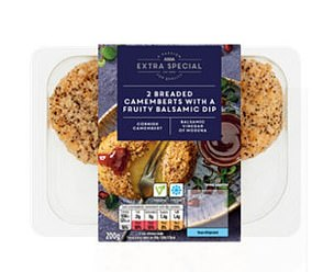 Their starter, an ASDA Extra Special 2 Breaded Camemberts with a Fruity Balsamic Dip is 321 calories