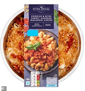 ASDA Extra Special Chorizo & Wyke Farms Cheddar Macaroni Cheese comes it 652 calories
