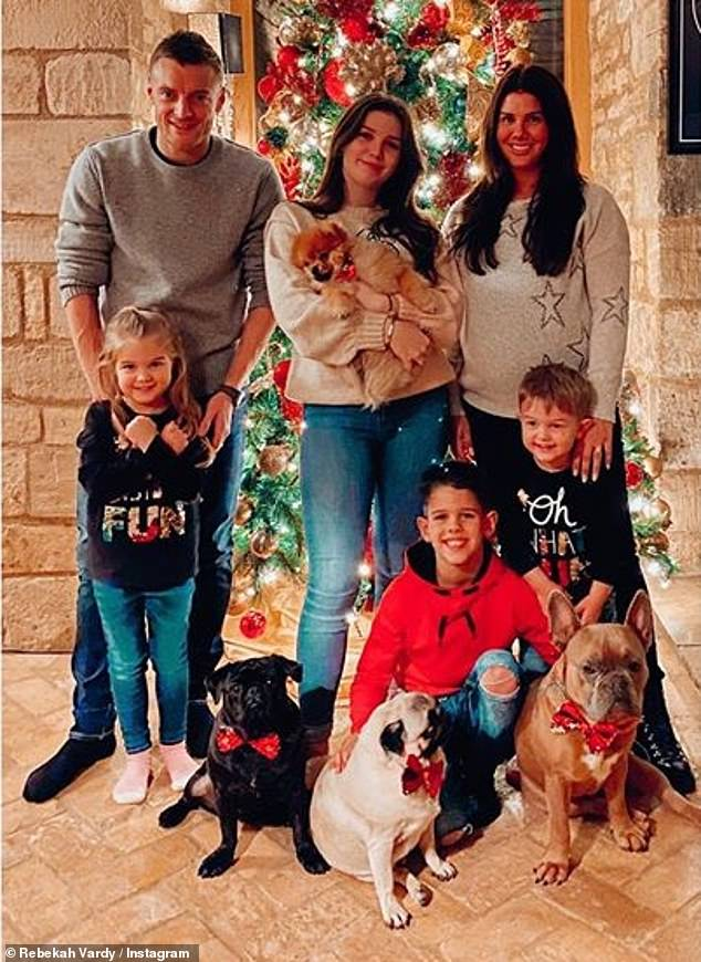 Family: The brunette shares Sofia, five, Finley, three, and Olivia Grace, six months, with Leicester City's Jamie, 33, and has Megan, 15, and Taylor, ten, from a previous relationship (pictured in December)