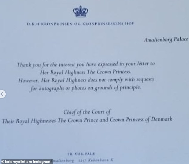 After she was sent a birthday card by the German royal blogger Katherine, it was revealed that the Crown Princess Mary of Denmark does not share autographs or photos with fans