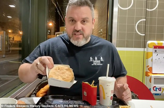 Matt Nadin, 40, (pictured) from Barnsley, South Yorkshire, took to YouTube with footage of himself eating a McDonald's Big Mac meal 14 months after it was buried in his friend's garden