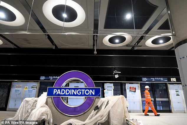 In their study, Dr Denicol and colleagues reviewed more than 6,000 academic papers on megaprojects before whittling these down to 89 studies which they analysed in close detail. Pictured, work on a Crossrail — orElizabeth Line — platform at Paddington