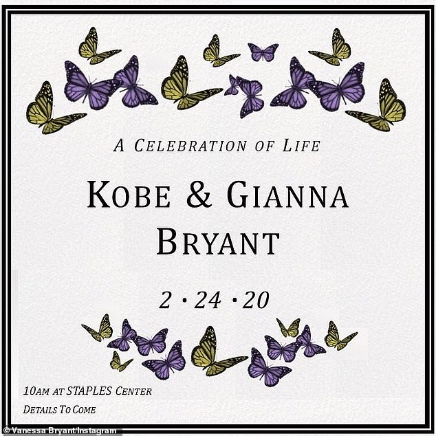 Memorial: Vanessa Bryant announced on Instagram that there will be an official memorial for Gianna and Kobe at the Staples Center in Los Angeles on February 24th