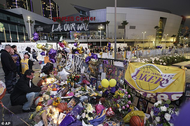 Legacy: Kobe had a 20-year career with the Los Angeles Lakers; pictured here is the fan memorial for Bryant on February 2nd outside of the Staples Center in Los Angeles