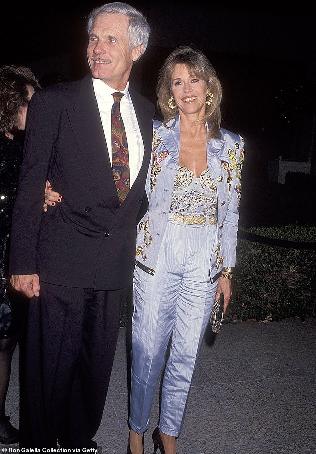 Through the years: Jane is pictured during her 1992 wedding reception to 'my favorite ex-husband' Ted Turner, the third man she married and divorced