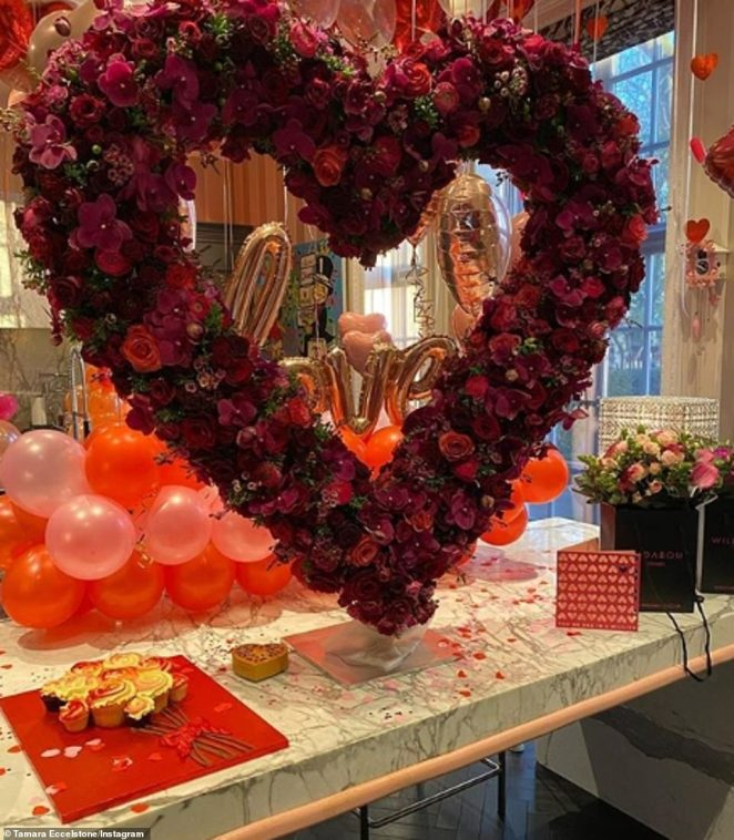 Wow!As the most romantic day of the year comes round, celebrities are naturally out in force to make the biggest and best gestures for their nearest and dearest, with Tamara Ecclestone being treated to flowers (pictured)