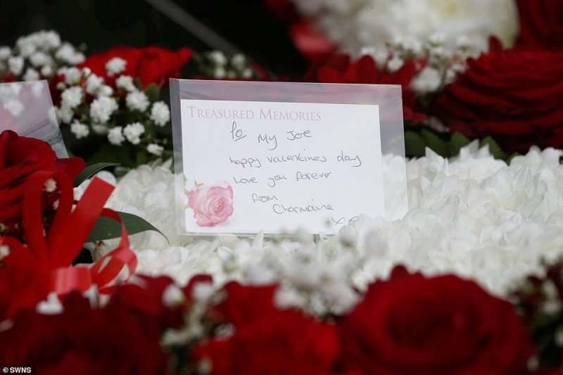 A note on one of the floral tribute from his estranged wife Charmaine read: 'To my Joe, Happy Valentine's Day, love you forever, from Charmaine xxx'