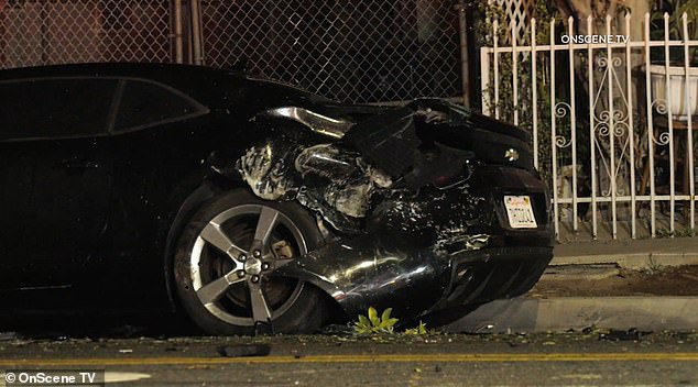 The devastated rear end of the Chevrolet Camero after the BMW sent a boulder flying off the traffic circle