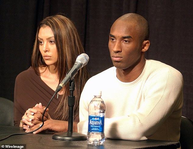 Kobe Bryant (left) with wife Vanessa at Staples Center press conference in 2003, following allegations that he sexually assaulted a 19-year-old female hotel employee in Colorado