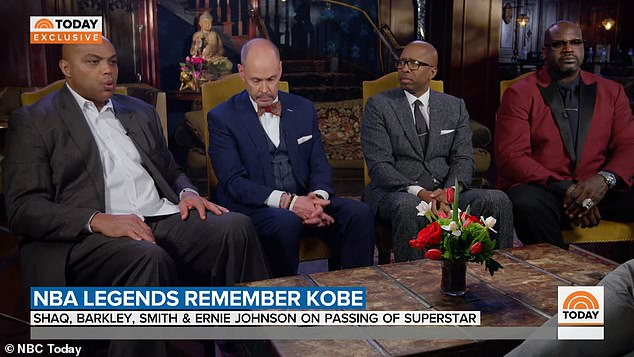 Barkley (far left) was interviewed alongside his Inside the NBA co-stars, TNT announcer Ernie Johnson (near left) as well as former NBA players Kenny Smith (near right) and Shaquille O'Neal (far right), the latter of whom played alongside Bryant in Los Angeles