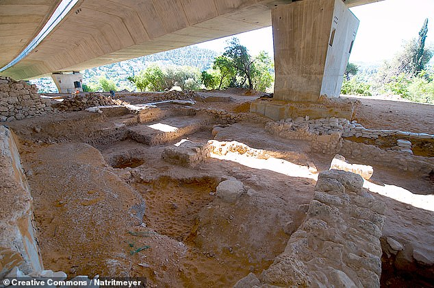 An Iron Age temple discovered at Tel Motza near Jerusalem, pictured, calls into question the Biblical claim that Solomon's temple was alone in the ancient Kingdom of Judah