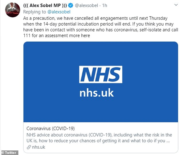 Mr Sobel directed people to the NHS website in case they were worried about the coronavirus