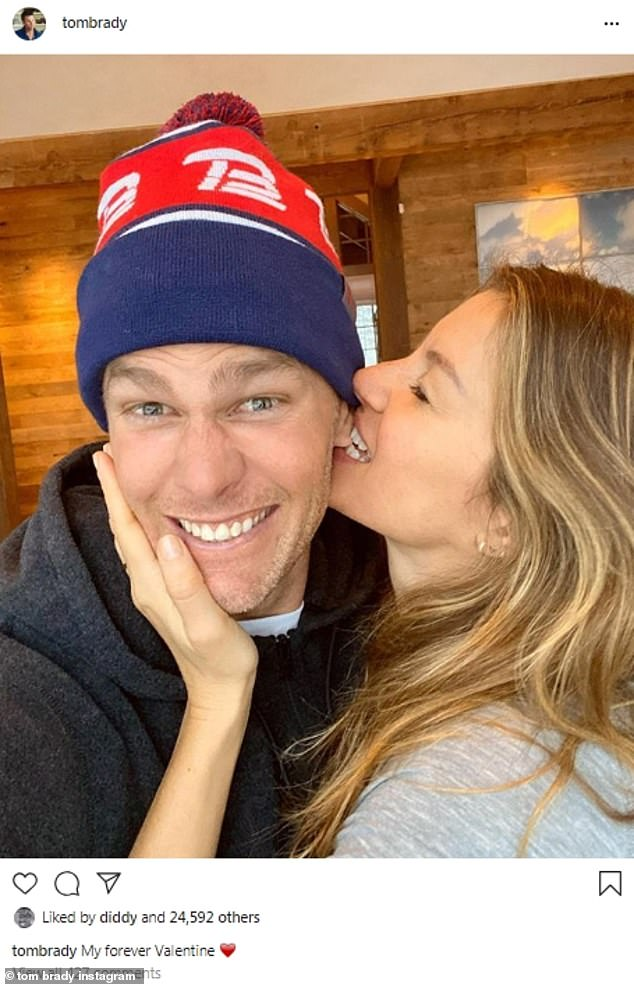 Love bite:Vogue model Gisele Bundchen was seen biting her husband, football star Tom Brady, on the ear in an image he shared with the caption, 'My forever Valentine'