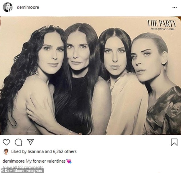 Her lovely family:Former Brat Pack member and now acclaimed author Demi Moore shared an image with her three pretty daughters: Rumer, Scout and Tallulah