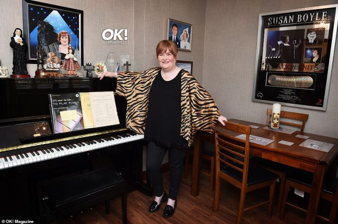 Life in the public eye:The Scottish superstar's living area is covered with plenty of cute ornaments and knick knacks, many of which embody her lifelong love of cats