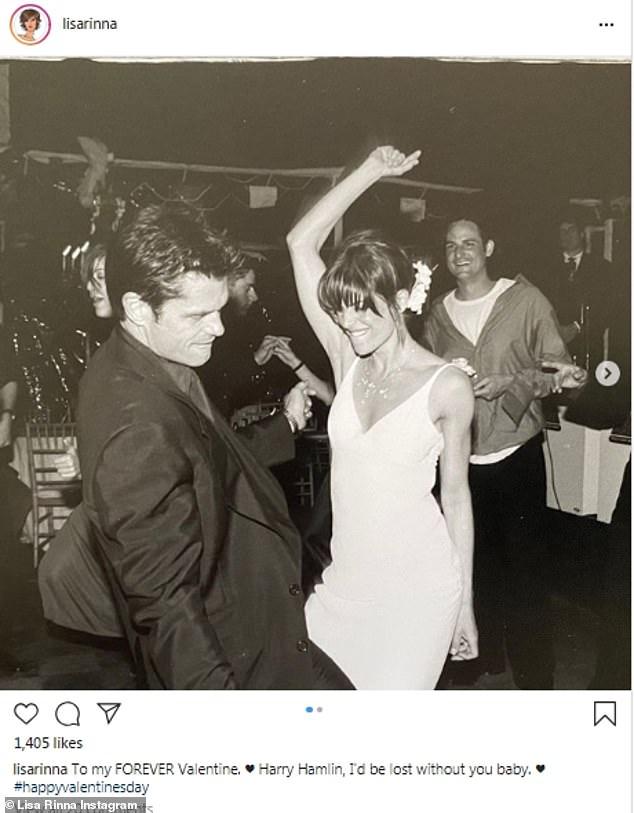 Their big day: Here RHOBH star Lisa Rinna is seen with husband Harry Hamlin