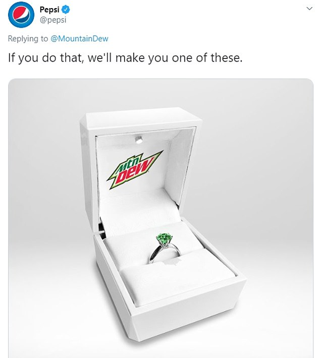 Sparkly:Pepsi responded by mocking up a green Mountain Dew version of the ring
